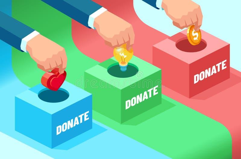 De vector van zakenlieden overhandigt het bijdragen geld, ideeën, aanmoediging vector illustratie
