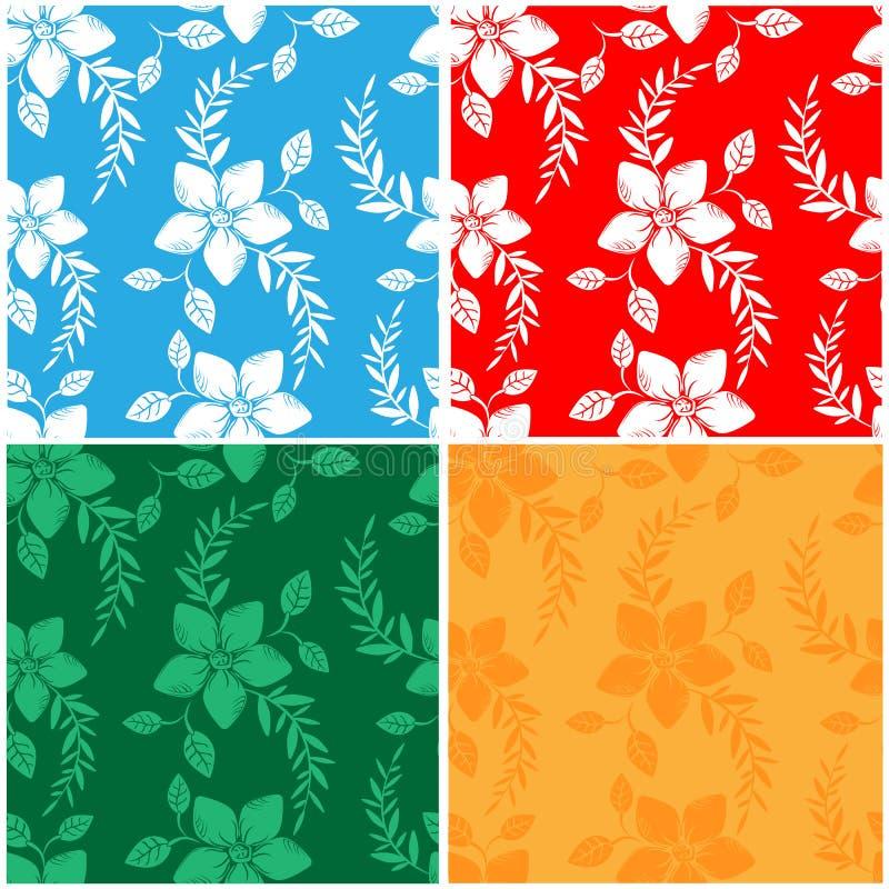 De vector vastgestelde abstracte achtergrond bloeit naadloos patroon royalty-vrije stock afbeeldingen