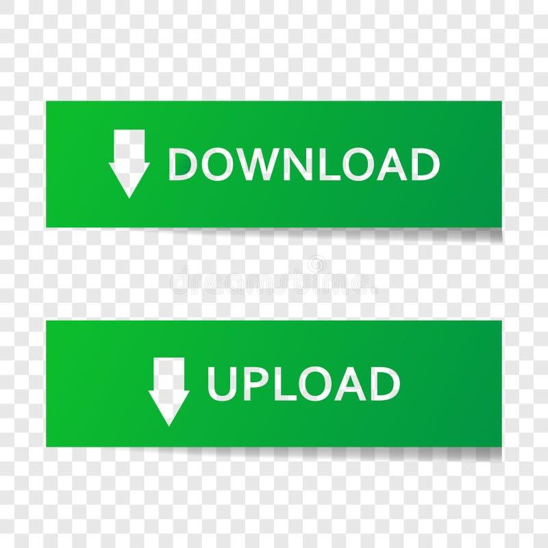 De vector vastgestelde knoopdownload en uploadt Illustratieknoop op gr. vector illustratie