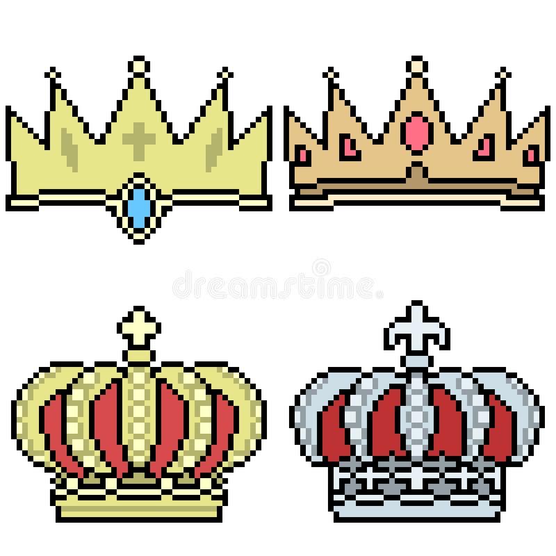 De vector vastgestelde kroon van de pixelkunst vector illustratie