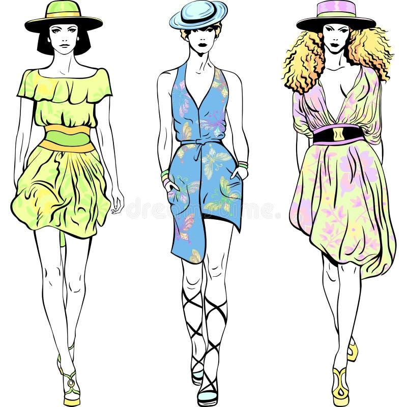 De vector vastgestelde manier hoogste modellen in de zomer kleedt vector illustratie