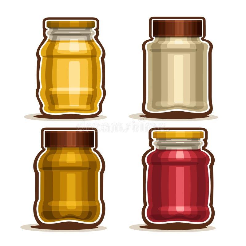 De vector Vastgestelde verschillende Kruiken van het embleemglas royalty-vrije illustratie