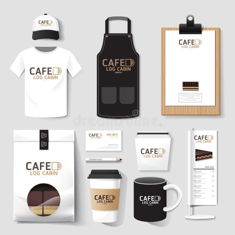 De vector vastgestelde vlieger van de restaurantkoffie, menu, pakket, t-shirt, GLB, u royalty-vrije illustratie