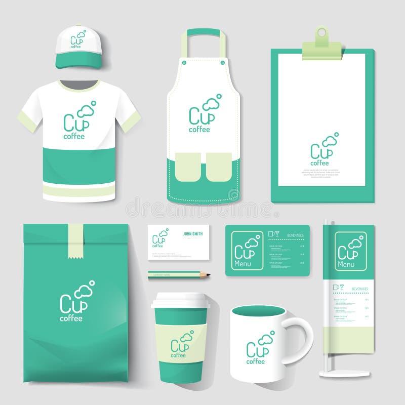 De vector vastgestelde vlieger van de restaurantkoffie, menu, pakket, t-shirt, GLB, u stock illustratie