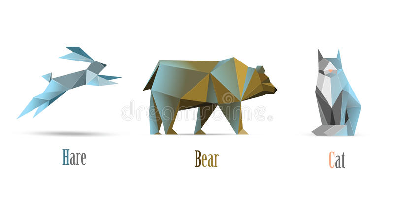 De vector veelhoekige illustratie van dierenkat, draagt, hazen, moderne lage polypictogrammen, geïsoleerde origamistijl royalty-vrije illustratie
