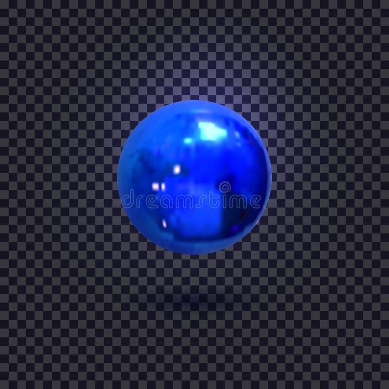 De vector verlichtte Blauwe die Bal, op Donker Decoratief Element wordt geïsoleerd Als achtergrond royalty-vrije illustratie