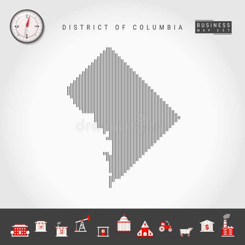 De vector Verticale Kaart van het Lijnenpatroon van District van Colombia Gestreept Silhouet van gelijkstroom Realistisch kompas  royalty-vrije illustratie
