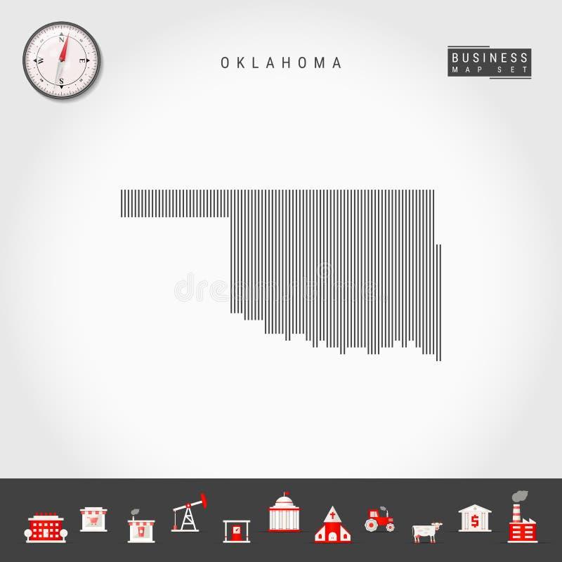 De vector Verticale Kaart van het Lijnenpatroon van Oklahoma Gestreept Silhouet van Oklahoma Realistisch kompas Bedrijfs pictogra royalty-vrije illustratie