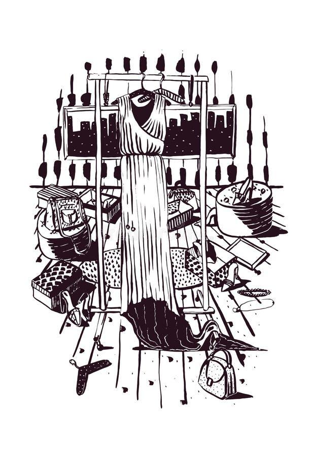 De vector verticale zwart-witte manierillustratie met lange kleding op binnen getrokken hangers, knoeit van toebehoren, zakken en vector illustratie