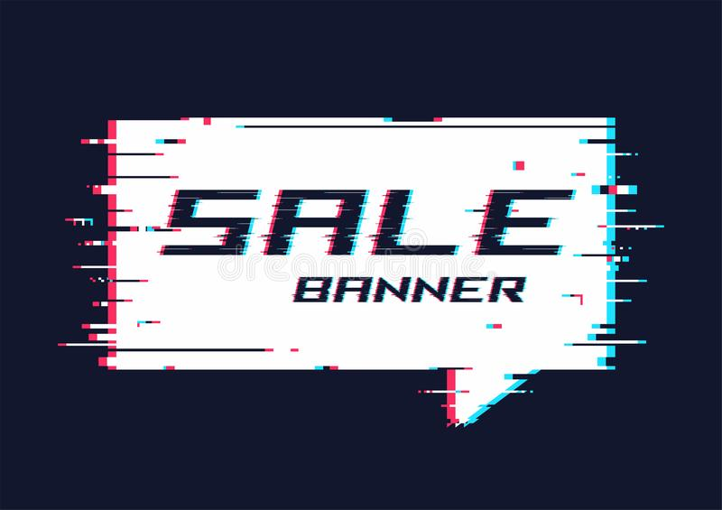 De vector vervormde glitch banner van de stijlbevordering, prijskaartje, speec vector illustratie