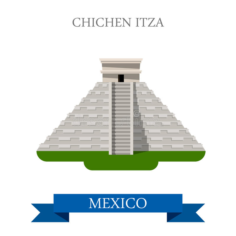 De vector vlakke aantrekkelijkheid van Chichenitza Maya Pyramid Yucatan Mexico stock illustratie