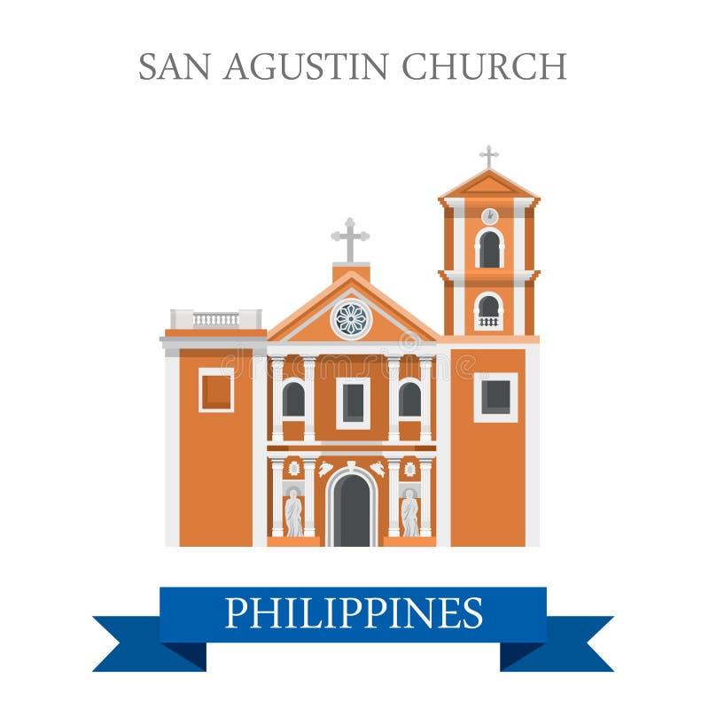 De vector vlakke aantrekkelijkheid van San Agustin Church Manila Philippines vector illustratie