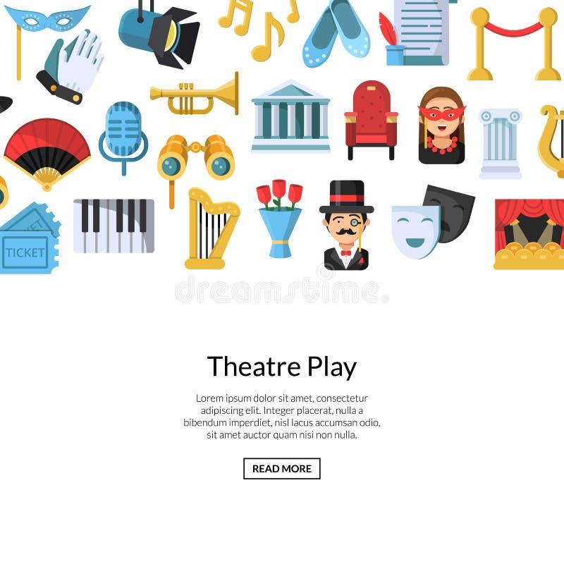 De vector vlakke achtergrond van theaterpictogrammen met plaats voor tekstillustratie vector illustratie