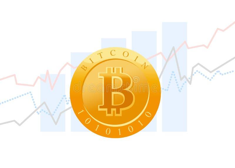 De vector vlakke bedrijfsillustratie met grafiekdiagram en het golgenmuntstuk met bitcoinembleem isoalted op witte achtergrond vector illustratie