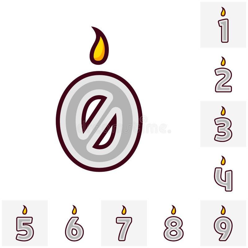 De vector vlakke die kaars van de ontwerpverjaardag in de vorm van alle aantallen wordt geplaatst Het branden van kleurrijke kaar stock illustratie