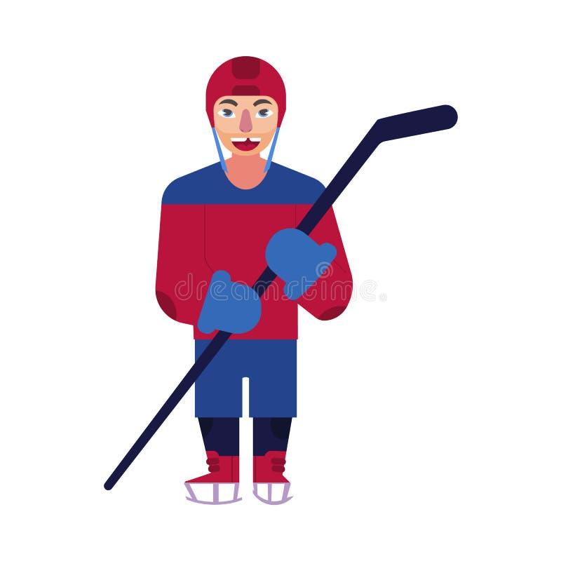 De vector vlakke geïsoleerde mens van de ijshockeyspeler stock illustratie