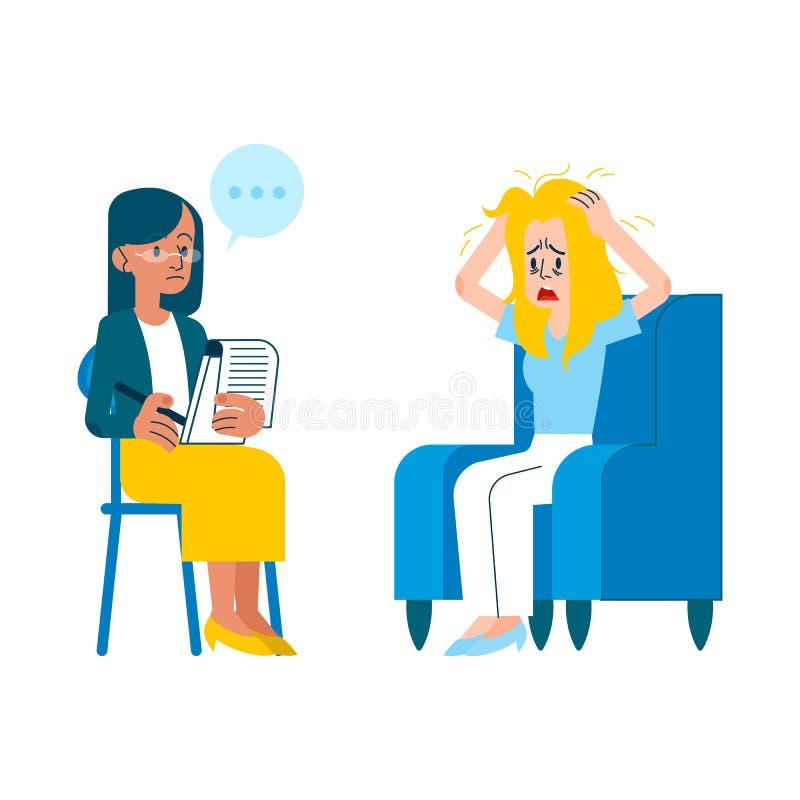 De vector vlakke geestelijke schreeuwende vrouw van de therapiezitting vector illustratie