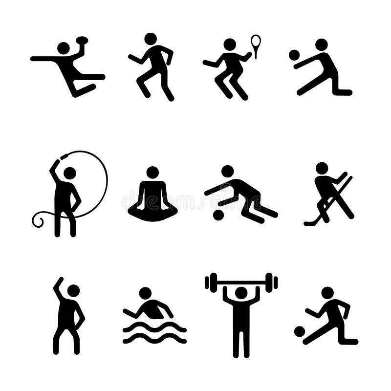 De vector vlakke geplaatste pictogrammen van de sportmens, fitness embleem Zwarte kentekensvoetbal, basketbal, volleyball, tennis vector illustratie