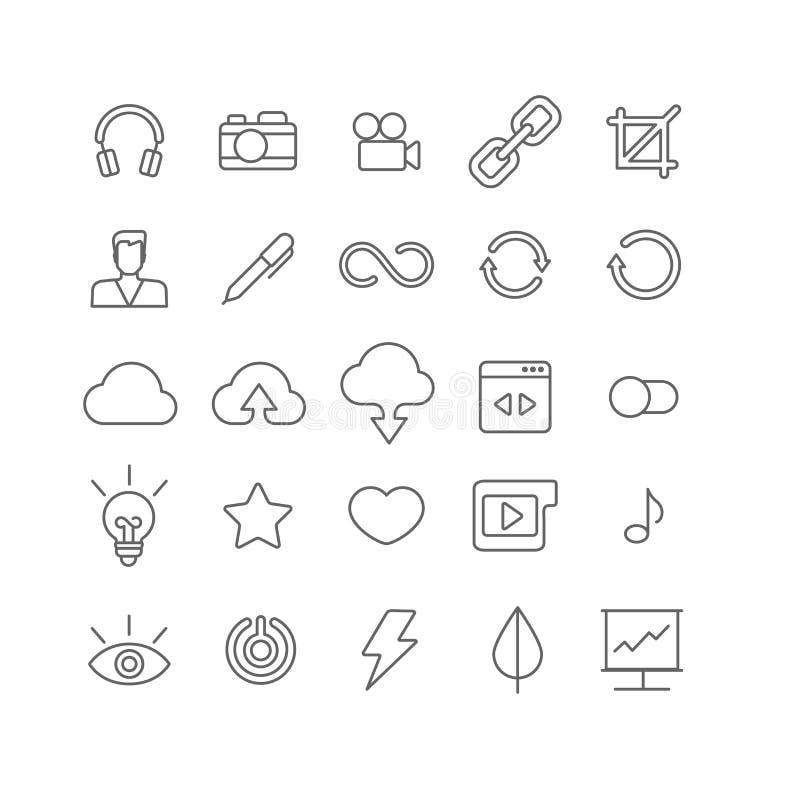 De vector vlakke grafische reeks van de lijnkunst mobiele interfaceapp pictogrammen royalty-vrije illustratie