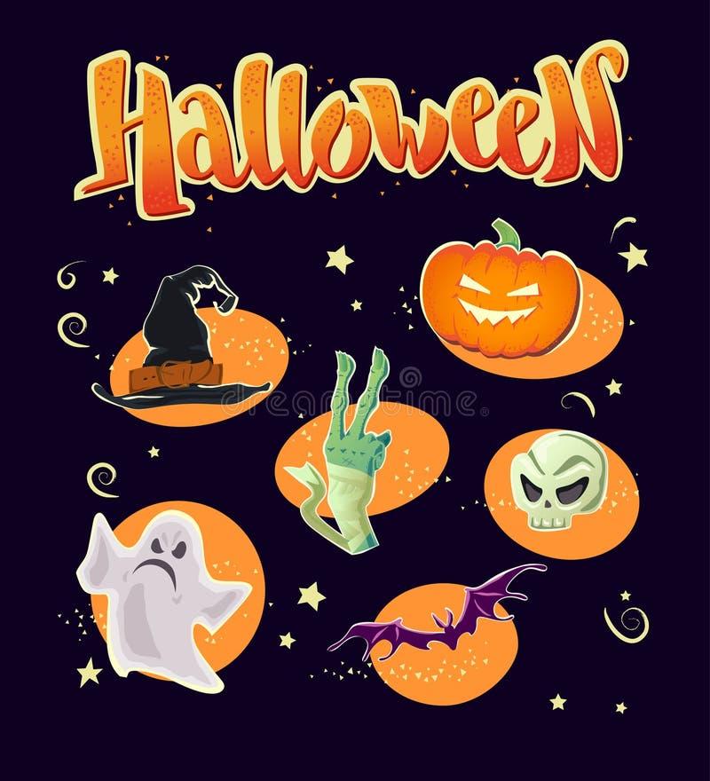 De vector vlakke Halloween-kaart, banner, affiche, aanplakbiljet, partijuitnodiging, flayer ontwerpt elementen stock illustratie
