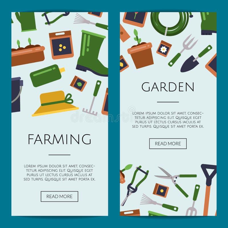 De vector vlakke het tuinieren illustratie van de bannermalplaatjes van het pictogrammenweb royalty-vrije illustratie