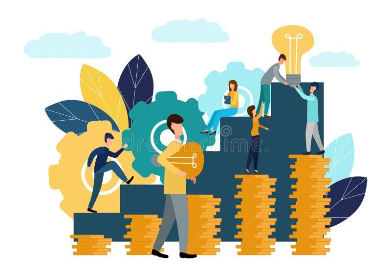 De vector vlakke illustratie, bedrijfsconcept voor groepswerk, kleine mensen zit op de gloeilampen op zoek naar idee?n, onderzoek royalty-vrije illustratie