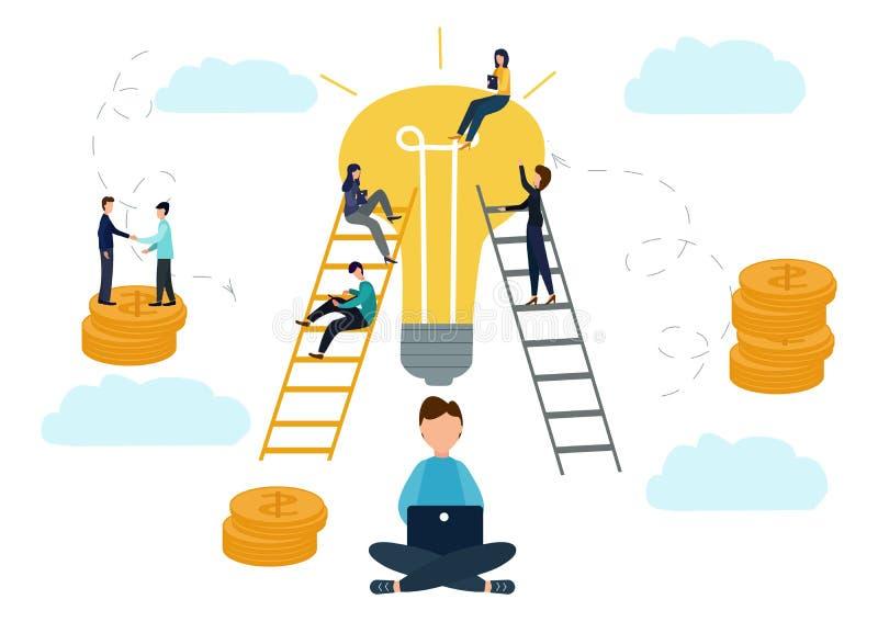 De vector vlakke illustratie, bedrijfsconcept voor groepswerk, kleine mensen zit op de gloeilampen op zoek naar idee?n, onderzoek stock illustratie