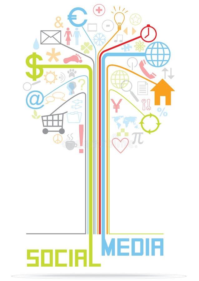 De vector vlakke illustratie van de ontwerpboom met sociale media pictogrammen royalty-vrije illustratie