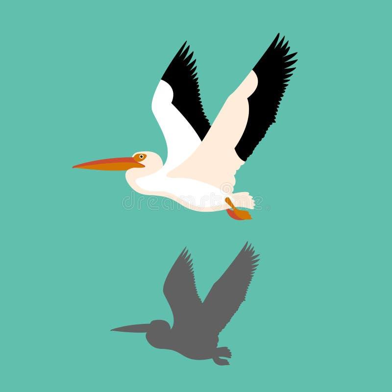 De vector Vlakke illustratie van de pelikaanvogel stock afbeelding