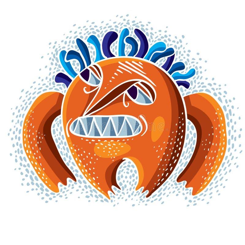 De vector vlakke illustratie van het karaktermonster, boze oranje mutant royalty-vrije illustratie