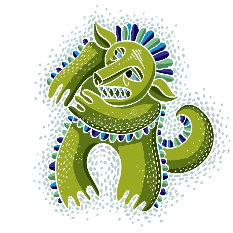 De vector vlakke illustratie van het karaktermonster, leuke groene mutant D vector illustratie