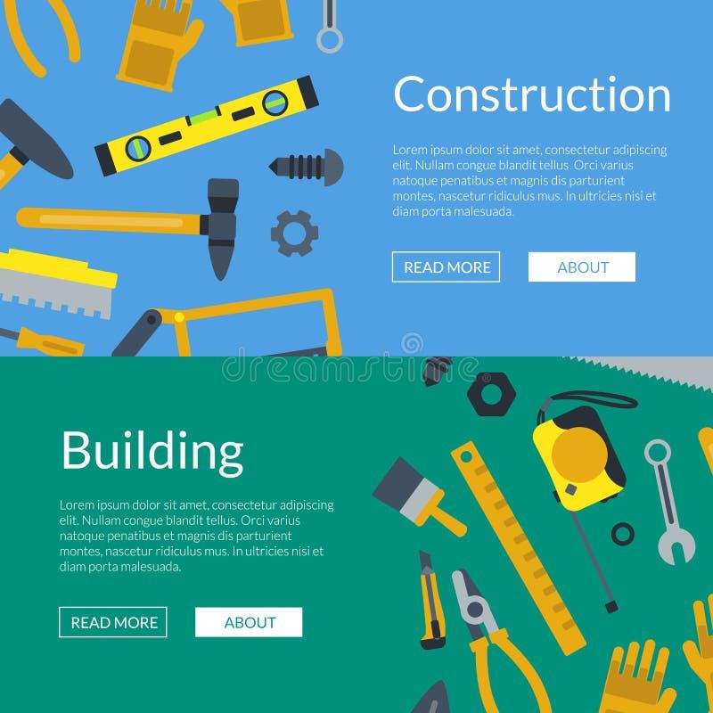 De vector vlakke illustratie van de het Webbanner van bouwhulpmiddelen stock illustratie