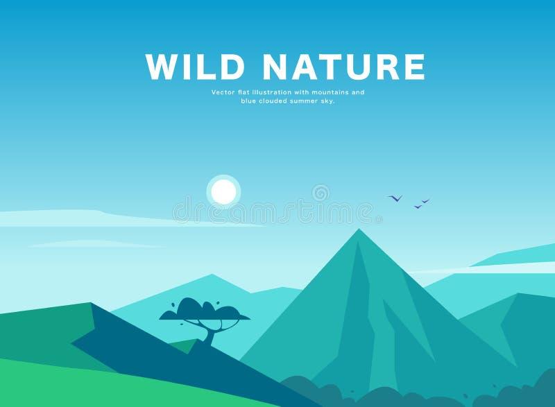 De vector vlakke illustratie van het de zomerlandschap met bergen, zon, boom en blauwe betrokken hemel stock illustratie