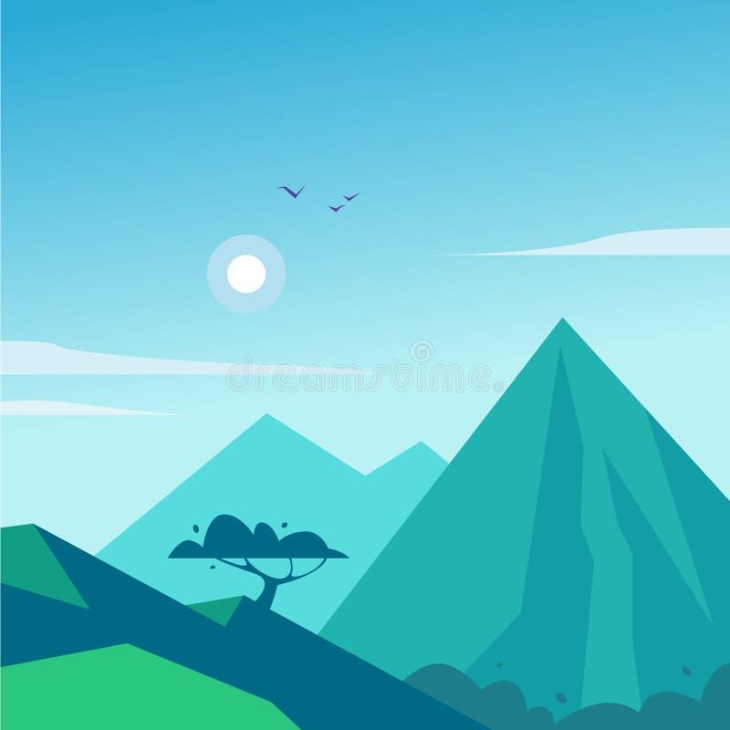 De vector vlakke illustratie van het de zomerlandschap met bergen, zon, boom en blauwe betrokken hemel vector illustratie