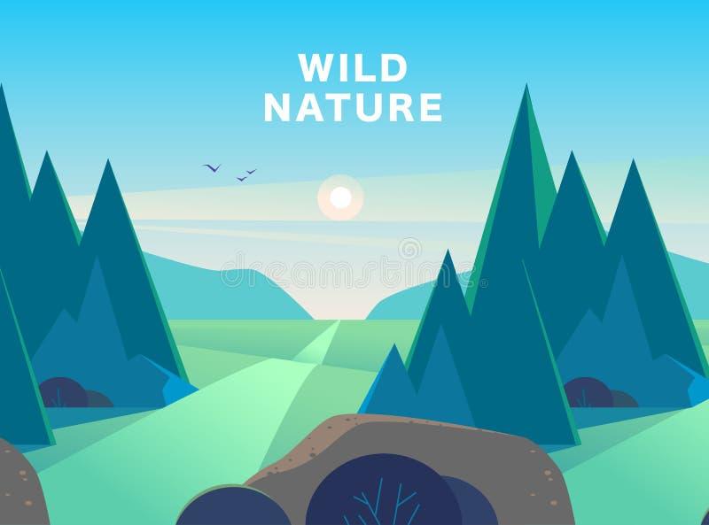 De vector vlakke illustratie van het de zomerlandschap met bergen, zon, sparren, weg, struik, medows en blauwe betrokken hemel stock illustratie