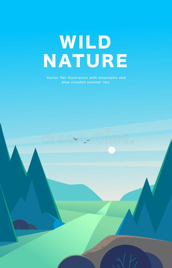 De vector vlakke illustratie van het de zomerlandschap met bergen, zon, sparren, weg, struik, medows en blauwe betrokken hemel royalty-vrije illustratie