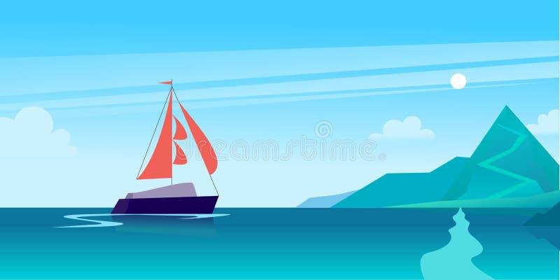 De vector vlakke illustratie van het de zomerlandschap met schip die over de oceaan naar kust met bergen op blauwe betrokken heme stock illustratie