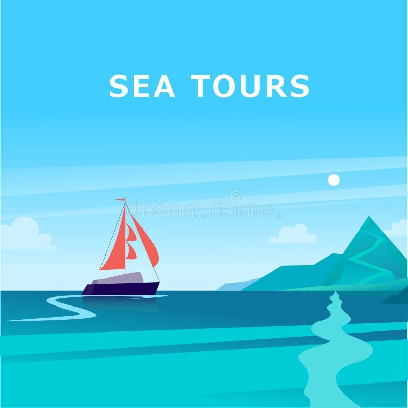 De vector vlakke illustratie van het de zomerlandschap met schip die over de oceaan naar kust met bergen op blauwe betrokken heme vector illustratie