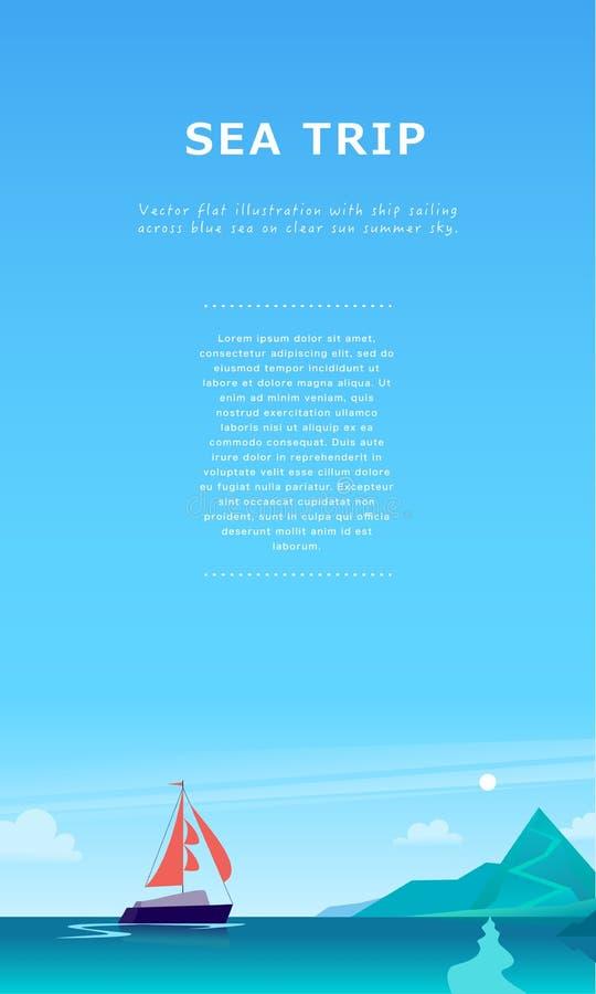 De vector vlakke illustratie van het de zomerlandschap met schip die over de oceaan naar kust met bergen op blauwe betrokken heme royalty-vrije illustratie
