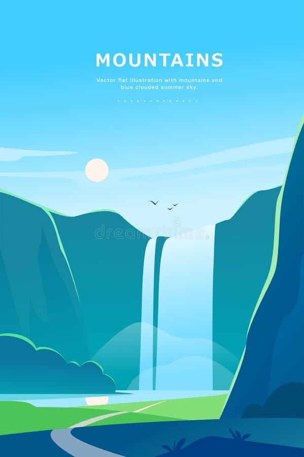 De vector vlakke illustratie van het de zomerlandschap met waterval, rivier, bergen, zon, bos op blauwe betrokken hemel vector illustratie