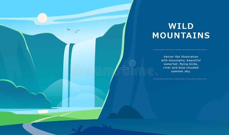 De vector vlakke illustratie van het de zomerlandschap met waterval, rivier, bergen, zon, bos op blauwe betrokken hemel stock illustratie