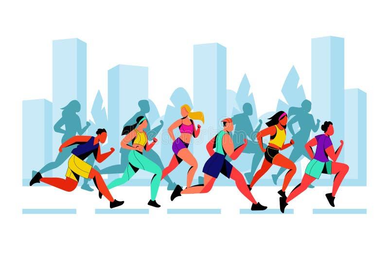 De vector vlakke illustratie van de stadsmarathon Lopende kleurrijke mensen tegen stadsachtergrond Openluchtsportconcept royalty-vrije illustratie