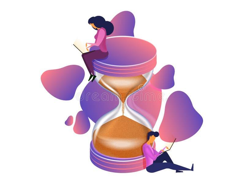 De vector vlakke isometrische illustratie van het tijdbeheer Man en vrouwen het werk met laptops stock illustratie