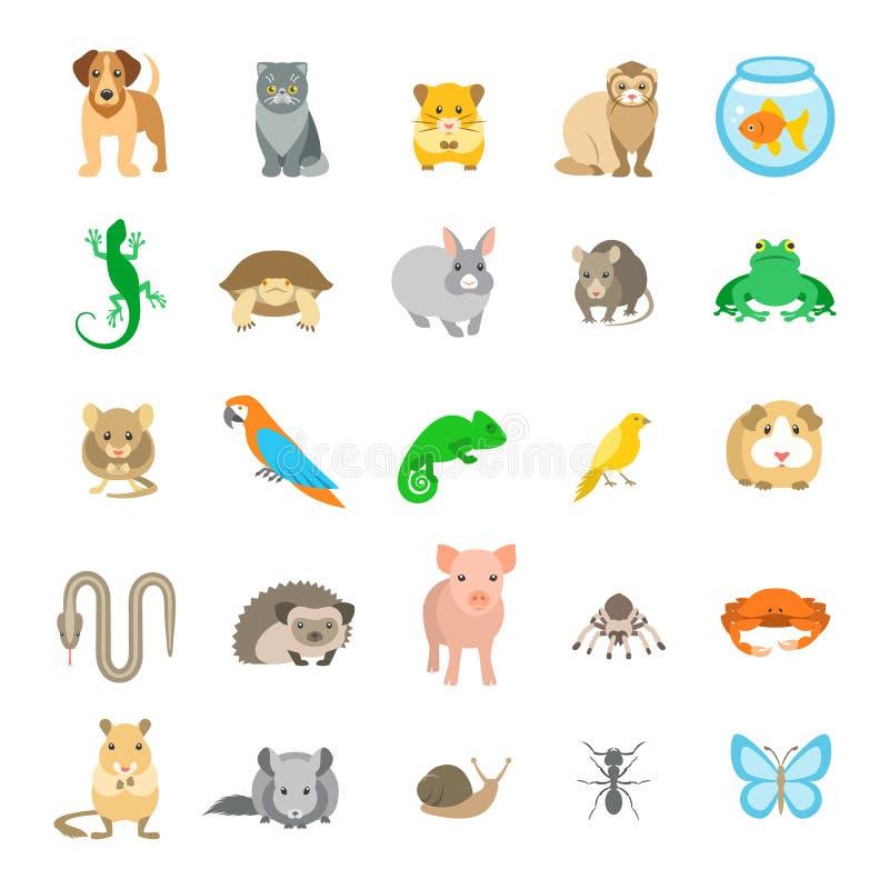 De vector vlakke kleurrijke die pictogrammen van dierenhuisdieren op wit worden geplaatst