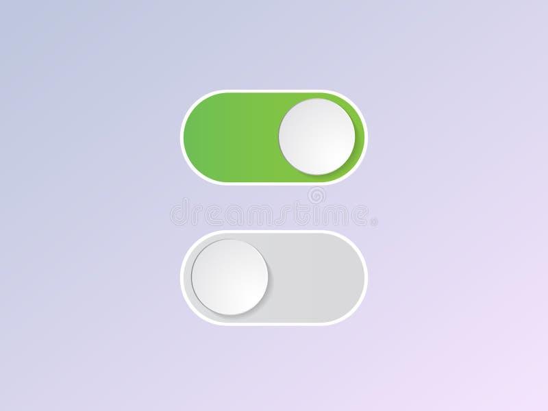 De vector vlakke knoop van de pictogram aan en uit Knevelschakelaar stock illustratie