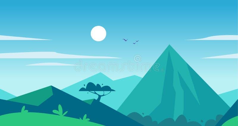 De vector vlakke naadloze illustratie van het de zomerlandschap met bergen, zon, boom en blauwe betrokken hemel stock illustratie