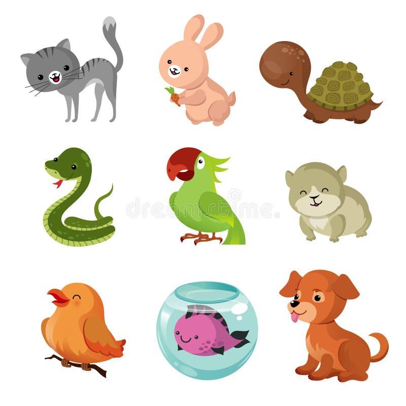 De vector vlakke pictogrammen van huisdieren huisdieren vector illustratie