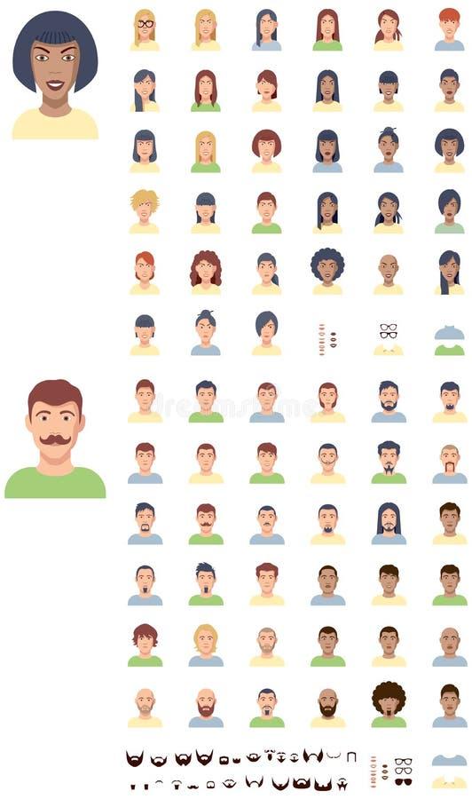 De vector vlakke reeks van het gezichtenpictogram royalty-vrije illustratie