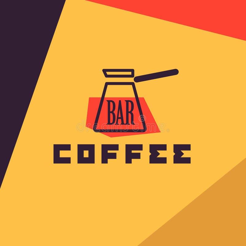 De vector vlakke steekproef van het koffieembleem royalty-vrije illustratie