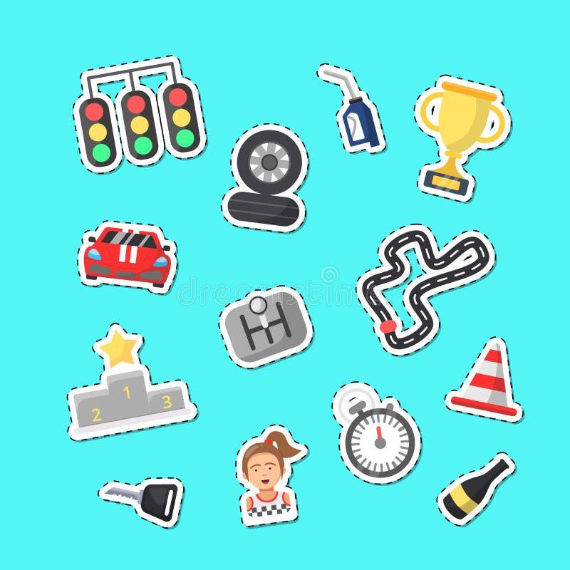 De vector vlakke stickers van autorennenpictogrammen geplaatst illustratie vector illustratie